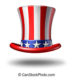 American Hat - American hat icon as a stars and stripes...