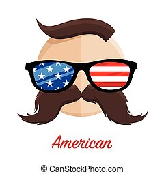 American hipster Glasses, Moustache