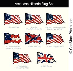 American Historic Waving Flag Set. The set includes flags...