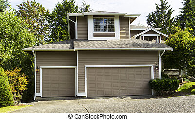 American home with three car garage