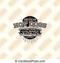 American hot dogs logo on seamless pattern fast food, vector illustration