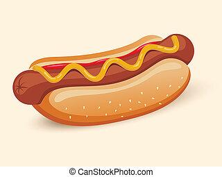 American hotdog sandwich with ketchup and mustard emblem...