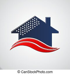 American House 50 stars. Vector Illustration