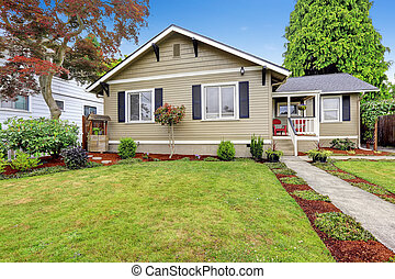 American house exterior with curb appeal. Walkout deck with...