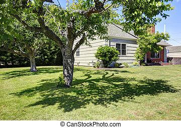 American house exterior with garden