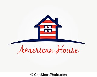 American house icon logo vector