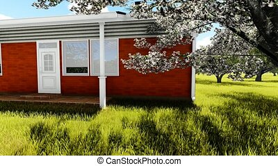 american, house in cherry orchard