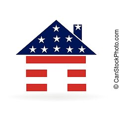 American house logo - Patriotic house illustration vector