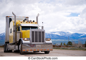 American icon of style customized yellow semi truck rig