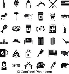 American icons set, simple style