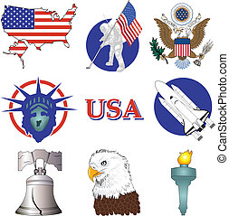 American Icons - Vector Illustration of nine American ...