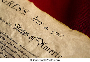 A copy of the Declaration of Independence dated July 4, 1776, marking the day the United States declared her independence from England