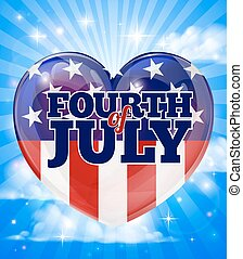 American Independence Day Heart Design