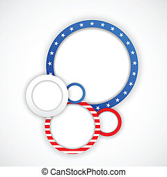 illustration of bubble design in American Flag color for Independence Day