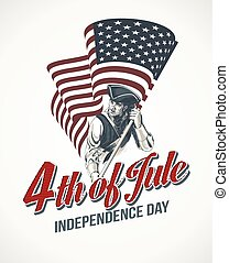 American Independence Day lettering design. A template background for greeting cards, posters, leaflets and brochure. Vector illustration