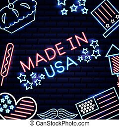 american independence day made in usa food moustache neon...