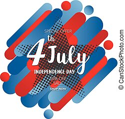 American Independence Day of 4th July on star halftone effect Colorful abstract background