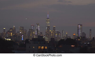 New York NY firework over Manhattan Skyline American independence day patriotic holiday night of July 4th celebration