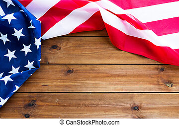 close up of american flag on wooden boards