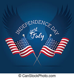 American Independence Day Sign with Flags and Lettering