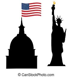 American Independence Day, US symbols, vector illustration