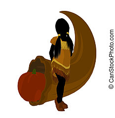 American Indian Art Illustration Silhouette - American...