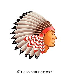 American indian chief isolated on white vector - American...
