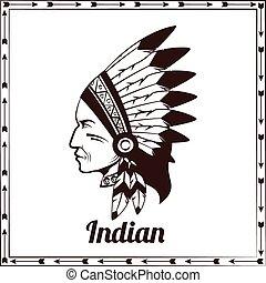 American indian chieftain black sketch
