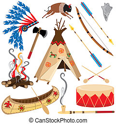 American Indian Clipart Icons and Elements, isolated on...