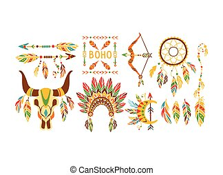 American Indian Ethnic Elements Boho Style Design Collection