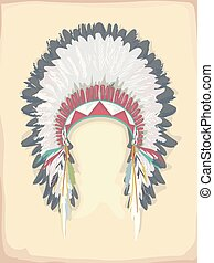 American Indian Head Dress Illustration - Illustration...