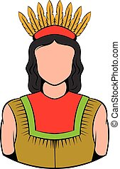 American Indian icon, icon cartoon