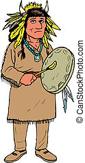 American Indian in a vector