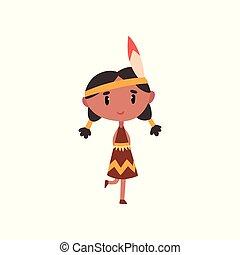 american indian, leány, alatt, nemzeti, öltözék, kölyök, karikatúra, betű, alatt, hagyományos kosztüm, vektor, ábra, képben látható, egy, white háttér
