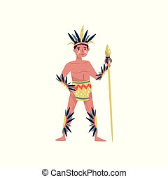 American Indian man character in ethnic costume with spear vector Illustration on a white background