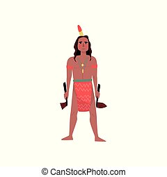 American Indian man character in traditional national clothes standing with tomahawk vector Illustration on a white background