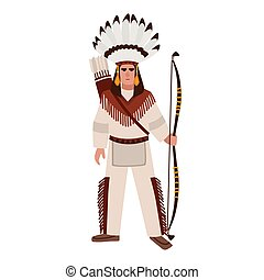 American Indian man or warrior wearing war bonnet and ethnic...