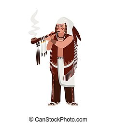 American Indian man wearing traditional clothes smoking...