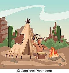 American indian playing drum