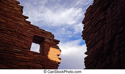 American Indian Ruins in Silhouette Against Sky - American ...