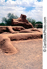 American Indian Ruins - Old ruined adobe walls from ancient ...
