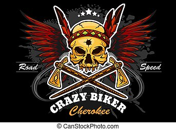 american indian skull - motorcycle graphic design