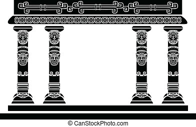 American Indian temple, columns with ritual masks