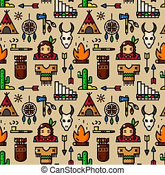 American indian vector seamless pattern