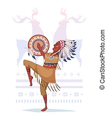 American Indian with a tambourine in the style of a cartoon....