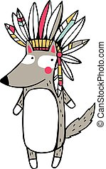 Funny american indian wolf. Vector Illustration isolated on white background.