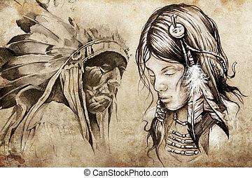American indian woman, Tattoo sketch, handmade design over ...