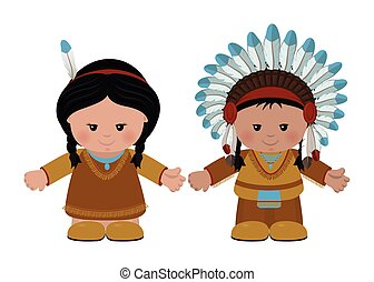 American Indians, man and woman in national dress