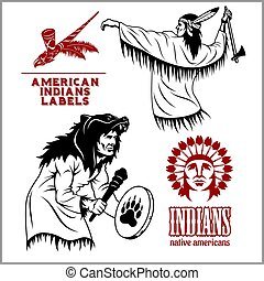 American indians set of vintage emblems, labels and logos in monochrome style