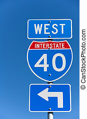 American Interstate I-40 West sign on blue background
